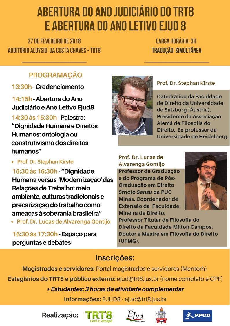 Programação Abertura do Ano Judiciário e Ano Letivo - TRT8 -27.02.2018